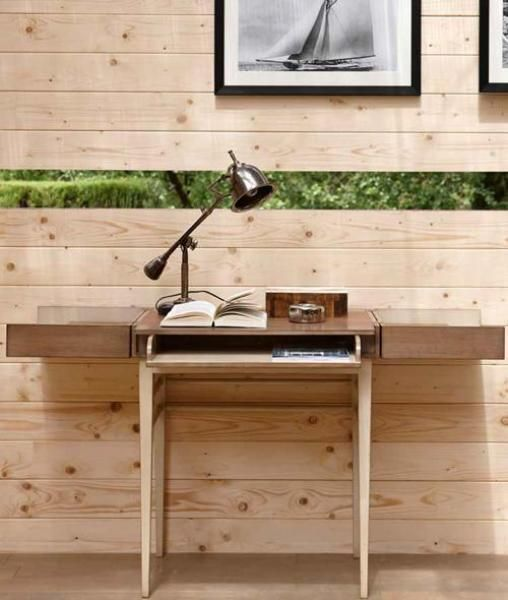 Grange Bureau Mario desk shown open. Cote collection. L 70 x H 85 x W 47 cm. Pull out shelf cherry wood, Panels: Cherry-wood veneer on MDF. Available with leather top
