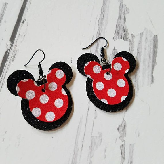 Red and White Polkadot Faux Leather Earring