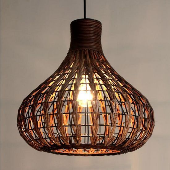 Diy Grass Rattan Chandelier Tropical Bamboo Hang Lamp Willow Ceiling Lighting