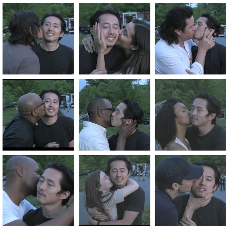 Steven Yeun (Glenn Rhee) Farewell kisses. The Walking Dead Season 7 You'll be truly missed.... Eugene though