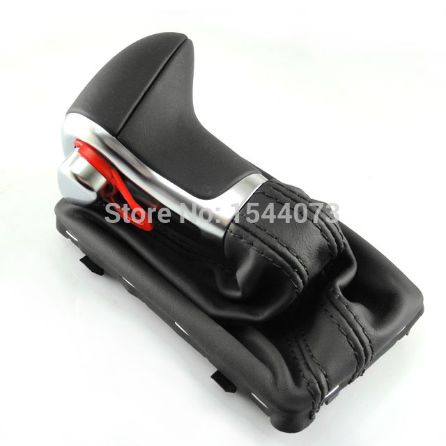 64.99$  Buy now - http://ali727.worldwells.pw/go.php?t=32360337737 - Chrome Black Leather Gear Shift Knob fit for AUDI A3 A4 A4L A6 A6L A7 Q7 Q5 2009 2010 2011 2012 64.99$