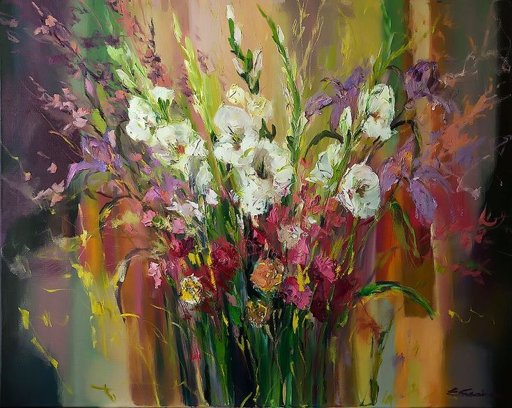 ARTFINDER: 'White Gladiolus bouquet' by Ewa Czarniecka - This pice was made with an impasto technique, applying thick layers of oil paint to the canvas. Oil on canvas.Certificate of Authenticity provided.