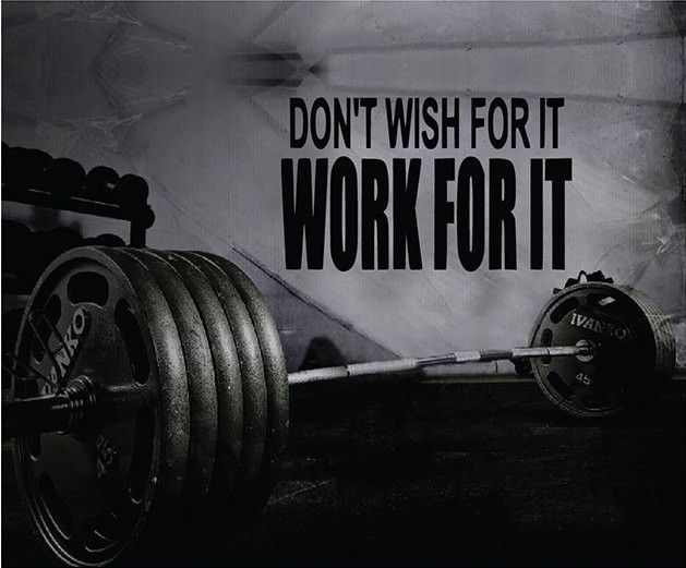 Fitness Motivation Home Gym Wall Decal - Don't Wish For It Work For it Wall…