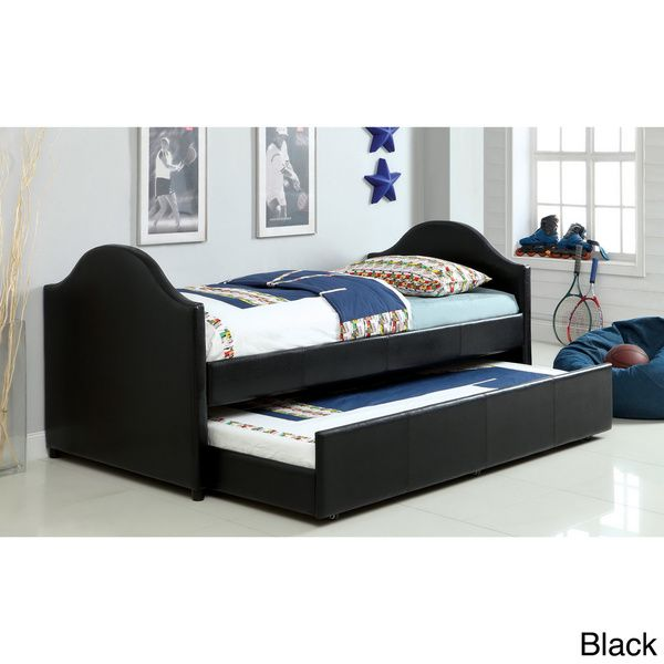 Furniture Of America Camillia Leatherette Platform With Twin Trundle Daybed    Overstock™ Shopping   Great