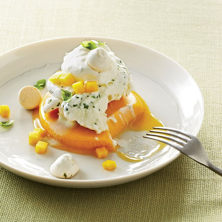 Mango-Basil Vacherin  Yigit Pura perfected this crisp-creamy French dessert while working at restaurant Daniel in New York City. His updated version combines little lime me...