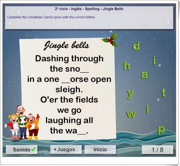 """El villancico """"Jingle bells"""" es la base para una magnífica actividad de ortografía de inglés para niños de 3º y 4º niveles de Educación Primaria. Del portal mundoprimaria.com."""
