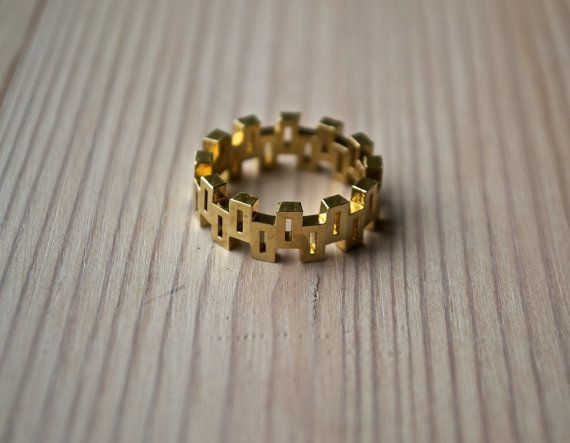 Geometric raw brass ring made with 3D printing technology by MBDdesign.