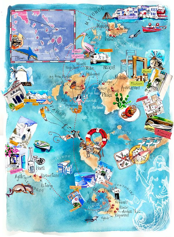 Cyclades isl are in Aegean sea of Greece . This is an artistic map illustration of these islands with the white cubic little houses which are around the sacred island of Delos. in its island Myconos Delos Paros Naxos Amorgos Folegandros Koufonisia there …