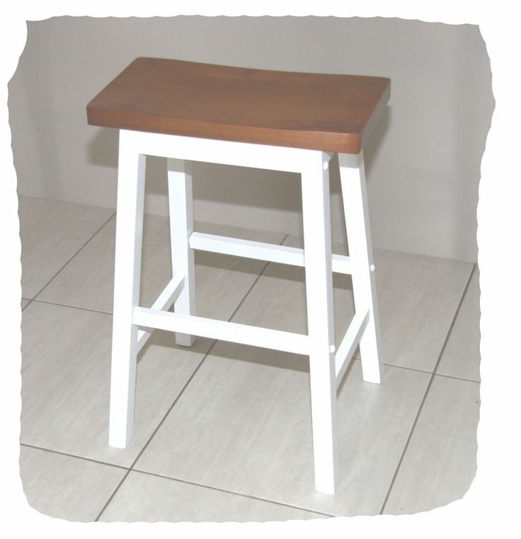 Saddle Teak & White Hardwood Timber Bar Stool - 650mm High