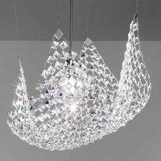 Pareo Sospensione Soffitto   Finitura Nichel lucido  Materiale Cristalli QUADRATI: Cristallo