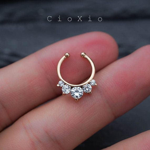 fake septum ring septum jewelry septum ring spike fake by CioXio