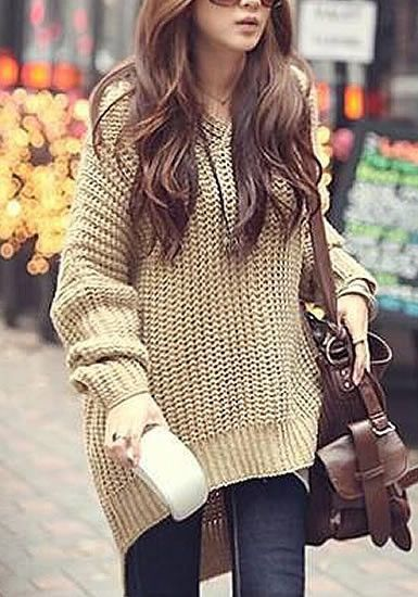 Hooded Sweater cape With Knee High Boots Found on: http://www.lookbookstore.co/collections/outerwears/products/hooded-sweater-cape
