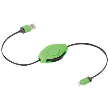 RETRAK ETLTUSBGN Charge & Sync Retractable Lightning(TM) to USB Cable (Green)