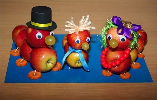 Поделки из яблок своими руками  Из яблок получаются отличные поделки! И работать с ними приятно и легко – как материал они довольно податливые, но прочные, а разнообразие цветов их кожуры позволяет дать волю фантазии. Такие поделки можно использовать, например, как украшение для застолья. Причем, подойдет любое праздничное застолье в любой сезон, все зависит от того, какой сюжет вы выберете.  Продолжение мастер-класса читайте на нашем сайте Abbigli.com…