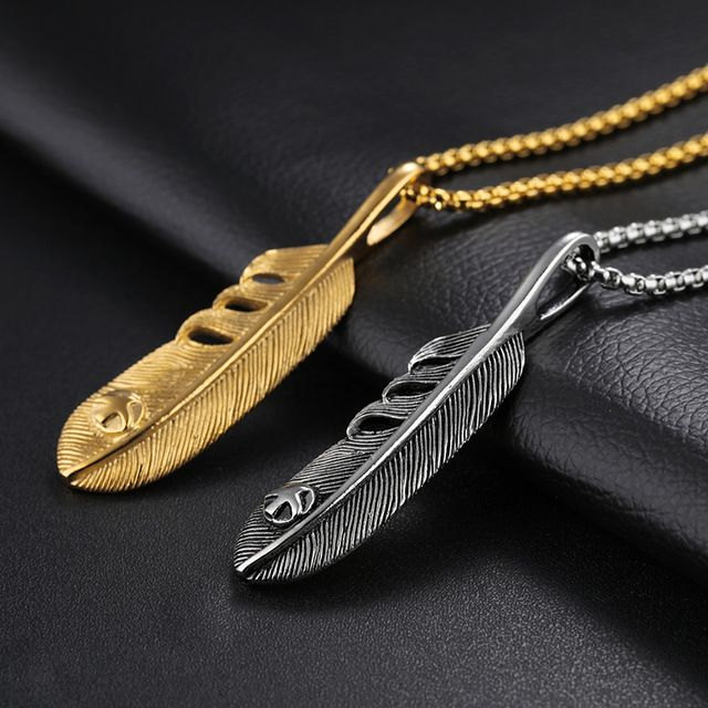 Men/'s Titanium Love Hot Womens Pendant Feather Wings Necklace Stainless Steel