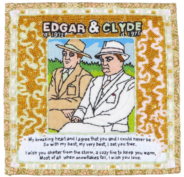 J. Edgar Hoover and Clyde Tolson/Quilt/8 Inches x 8 Inches/2012 michaelaaronmcallister.com