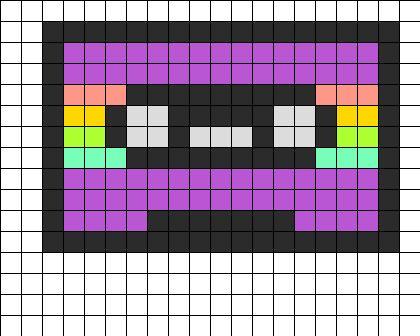 Cassette Tape Purple Perler Bead Pattern | Bead Sprites | Misc Fuse Bead Patterns