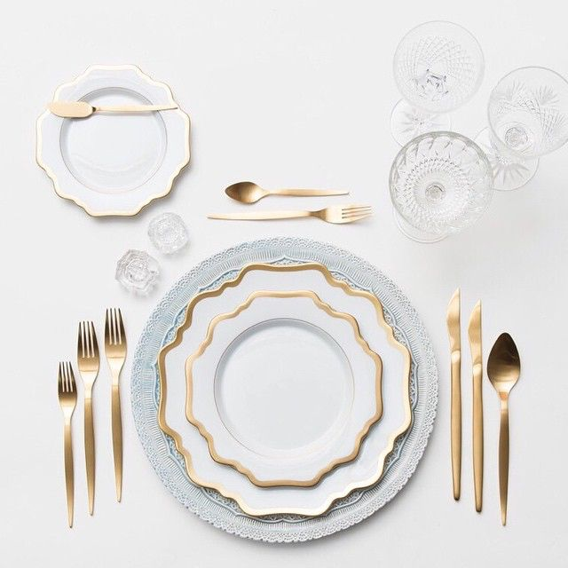 Dusty Blue Lace Chargers + Anna Weatherley Dinnerware + Gold Celeste Flatware   Casa de Perrin #casadeperin