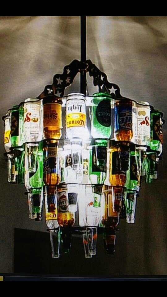 booze bottle chandelier - an idea what to do with all those bottles that he insists on keeping