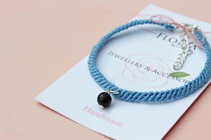 Boho macrame gemstone black agate blue bracelet-Bohemian Knotting braided jewellery-natural stone by FloriaBoutique on Etsy
