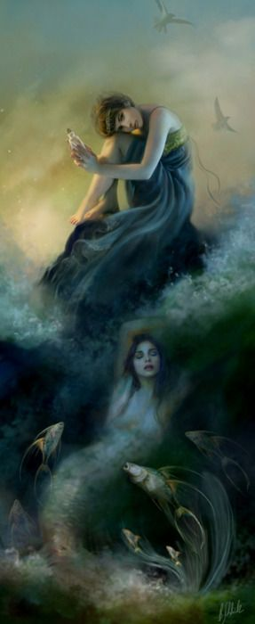 """I Hear Voices"" — Bente SchlickSea Waves, Ideas Boards, Hearing Voice, Fantasy Art, Bent Schlick, The Little Mermaid, The Sea, Under Sea, Soul Sisters"