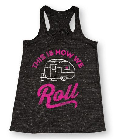 This Black Marble 'This Is How We Roll' Racerback Flowy Tank is perfect! Grab one while it's still available - this is so stinkin' cute! Would be great for camping at the lake this summer! Lake outfit for memorial day weekend, or summer at the lake! Would be adorable over a swim suit while playing volleyball!