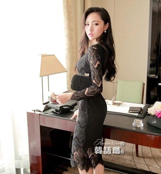 Long Dress Hitam European style Lace DS4087 » BAJEU ™