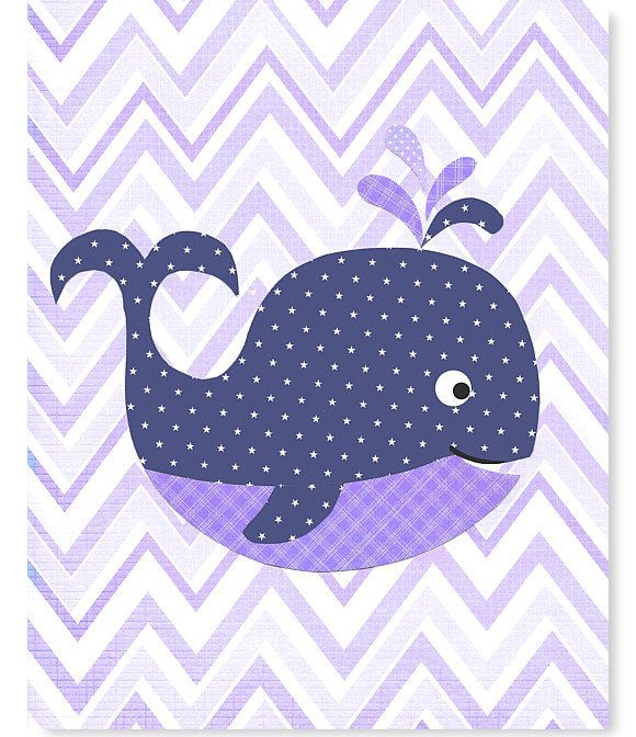 Nautical Nursery Navy and Purple Whale Sea Creature Girl's Room Decor Purple Chevron Lavender Ocean Toddler Room Art 8 x 10 or 11 x 14 by SweetPeaNurseryArt on Etsy https://www.etsy.com/listing/181548515/nautical-nursery-navy-and-purple-whale