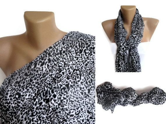 black and white scarf  leopard print fashion by scarvesCHIC, $10.50
