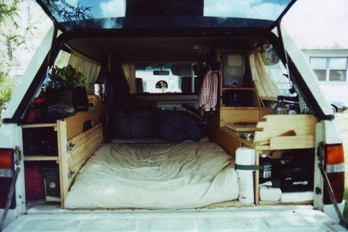 """alongside-death:  mybeautifulrepublic:   I took a 7 week coast to coast road trip after being laid off from Boeing. I didn't have a camper but realized that being able to pull off the road at a rest or truck stop was the way to go to make the trip affordable. With a few sheets of 1/2"""" plywood and misc. hardware this is what I came up with. The effort was well worth the time and materials.  Well this is everything I could ever possiblywant.  Greatest ever??"""