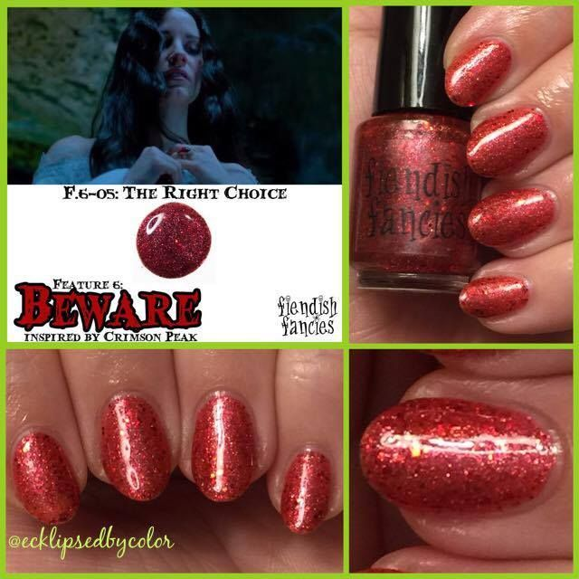 F.6-5: The Right Choice  Full coverage crimson glitter in a red jelly base, packed wtih holo sparkle and shimmer; inspired by fiery passion and cherry heirloom rings: The Beware Collection ~ Inspired by Crimson Peak ~ 5-Free, vegan, cruelty-free Nail Lacquer hand-poured in Canada