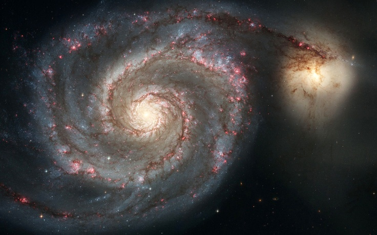 Галактика Водоворот - NGC 5194 (M51) и NGC 5195, галактики в созвездии Гончие Псы