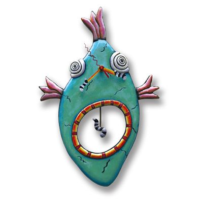 Fish Face Whimsical Clock Made From An Original Design By Michelle Allen