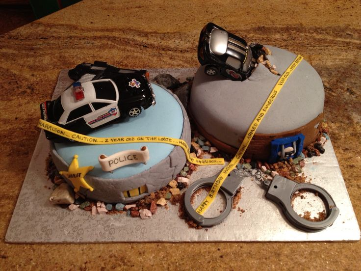 Cops and robbers cake for Hudson and Harrison.