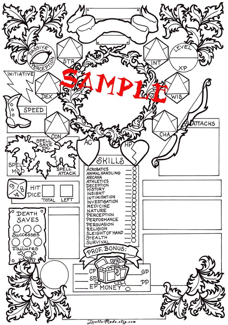 Coloring book character sheet ranger dd 5e printable