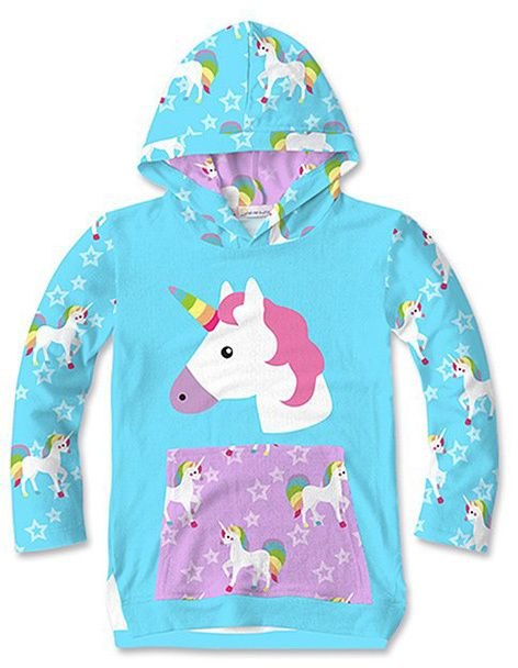 Turquoise Star Unicorn Pocket Hooded Top - Toddler & Girls