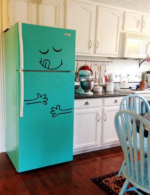 Happy Face Smile Fridge Refrigerator Vinyl by VinyleeGraphix
