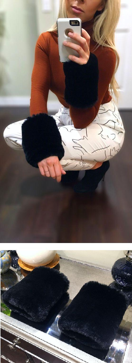 These cuffs though.... Black Minky Faux Fur Removable Cuffs #fashion #fallfashion #winterfashion #ootd #ootn #fauxfur #fur #style