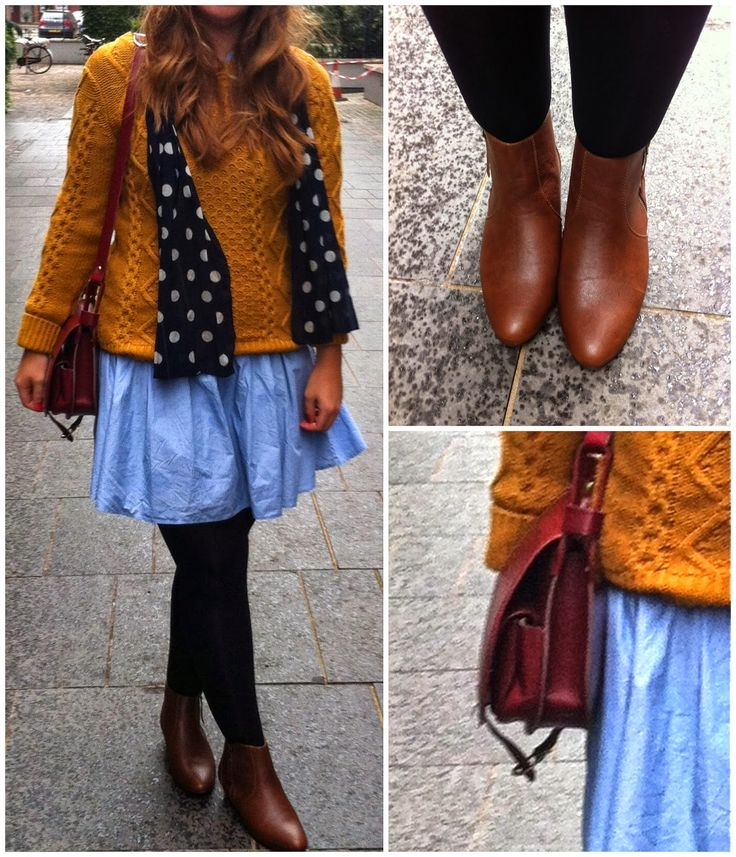 Casual Weekend Outfit....#style #topshop #primark #trends #stylist #fashion #cableknit #spots #tights #satchel