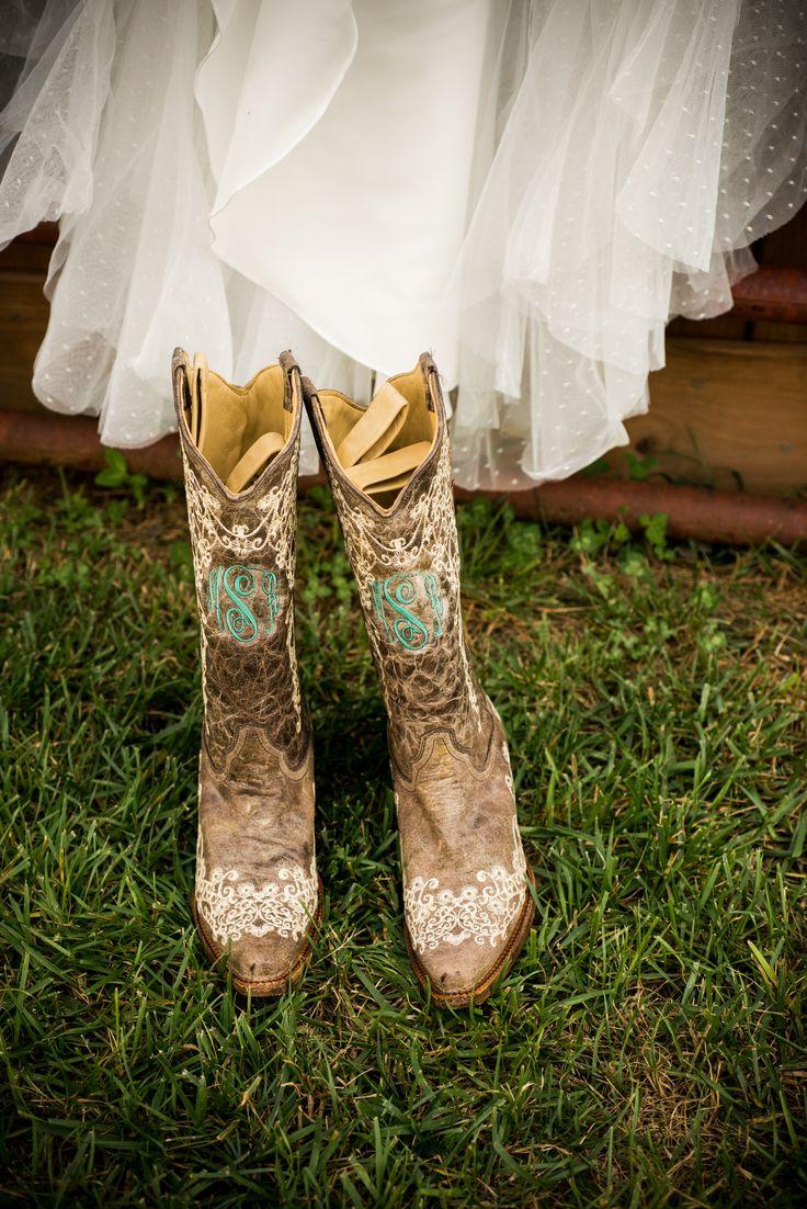Mint Monogrammed Cowboy Boots