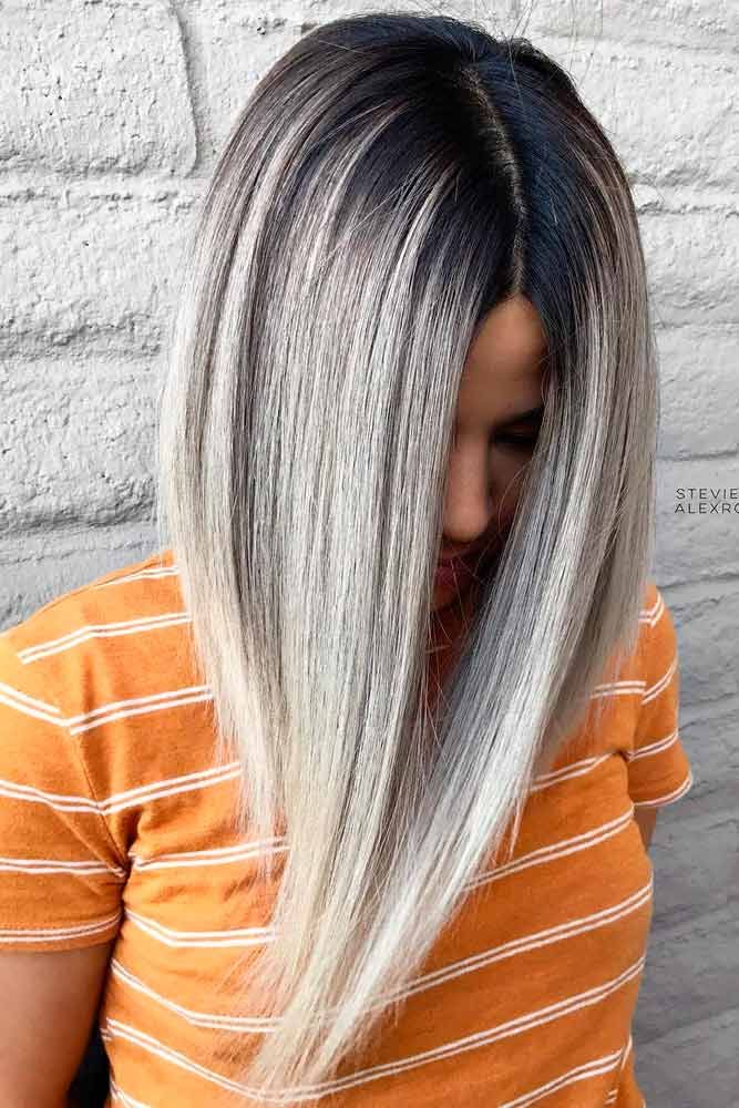 27 Amazing Ideas For Long Bob Haircuts Grey Ombre Hair