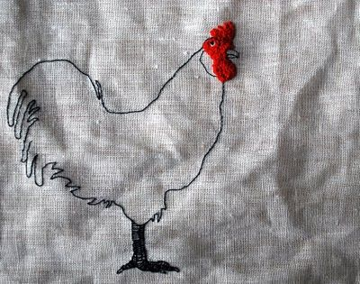 French-knotted rooster. http://www.myrtleandeunice.com/2010/12/one-legged-chicken-runaway-dog-and.html