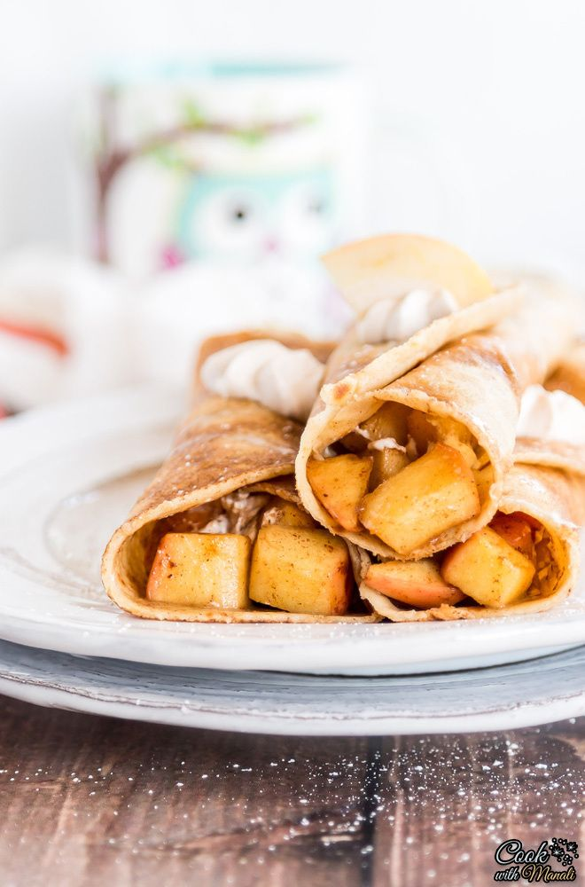 Brown Butter Crepes Filled with Apple Cinnamon and Cinnamon Whipped Cream
