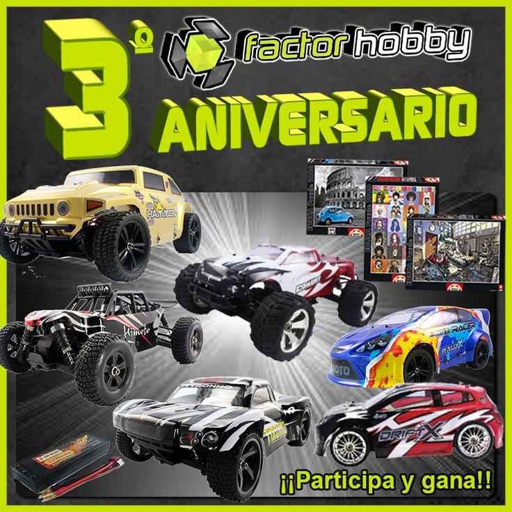 SORTEO 3ºANIVERSARIO FACTORHOBBY ►https://goo.gl/t8Te5q Sorteamos varios coches radiocontrol, puzzles...  Bases del sorteo:  https://goo.gl/A8H6d0
