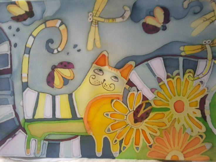"картина""кот на прогулке"" холодный батик"