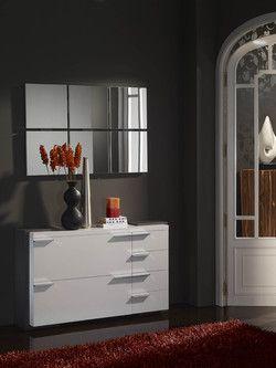 Meuble d'entrée moderne + miroir ELOUAN, coloris blanc et gris cendré