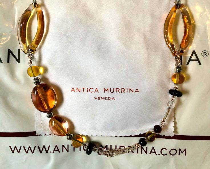 Stunning Italian Designer Antica Murrina Contemporary Long Necklace Amber BNWT