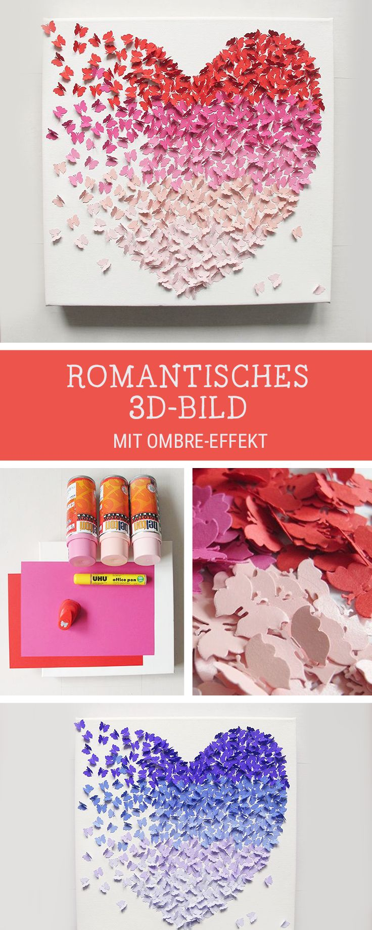 Romantisches 3D-Bild selbermachen, Ombre Effekt, Herz / diy crafting idea: romantic picture with ombre butterflies via DaWanda.com
