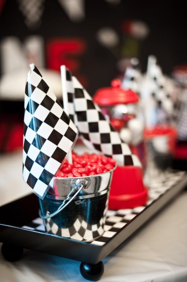 retro 50s race car themed 1st birthday party