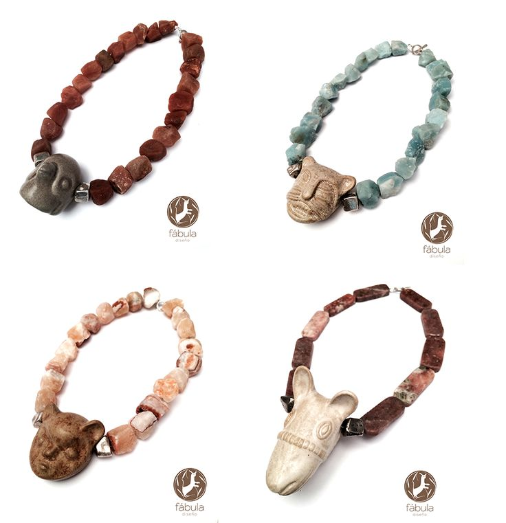 This singular necklace collection, created exclusively by Fábula, was inspired by the designs and natural elements of the ancient pre-Hispanic Andean world – all highly symbolic and intimately associated with the animals and beings inhabiting the collective imagination of these ancient cultures and peoples. Each necklace is artisan crafted, making it a UNIQUE CREATION.